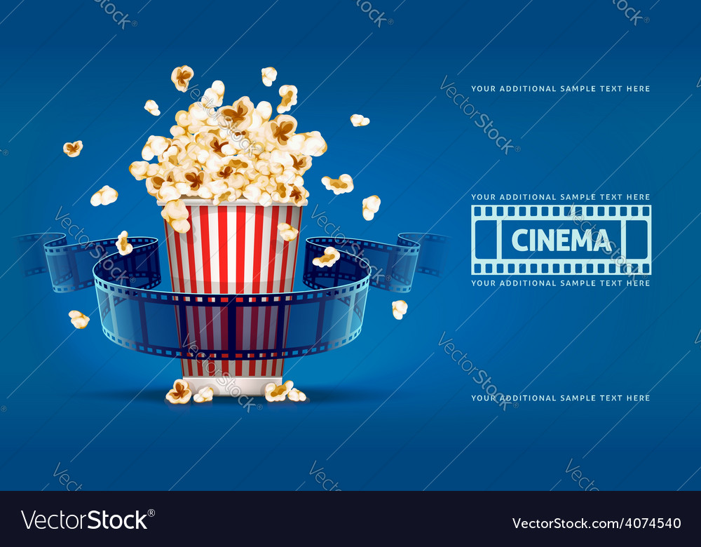 Popcorn for movie theater and vector