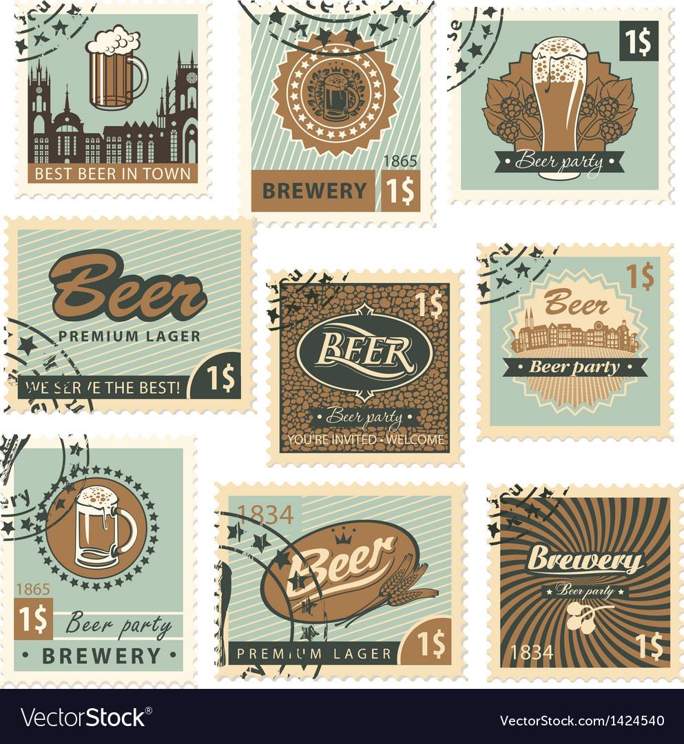 Postage stamps beer vector