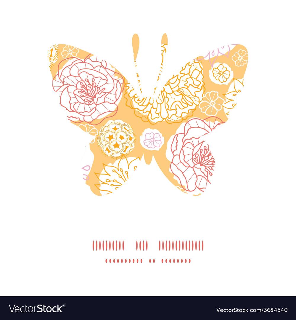 Warm day flowers butterfly silhouette pattern vector