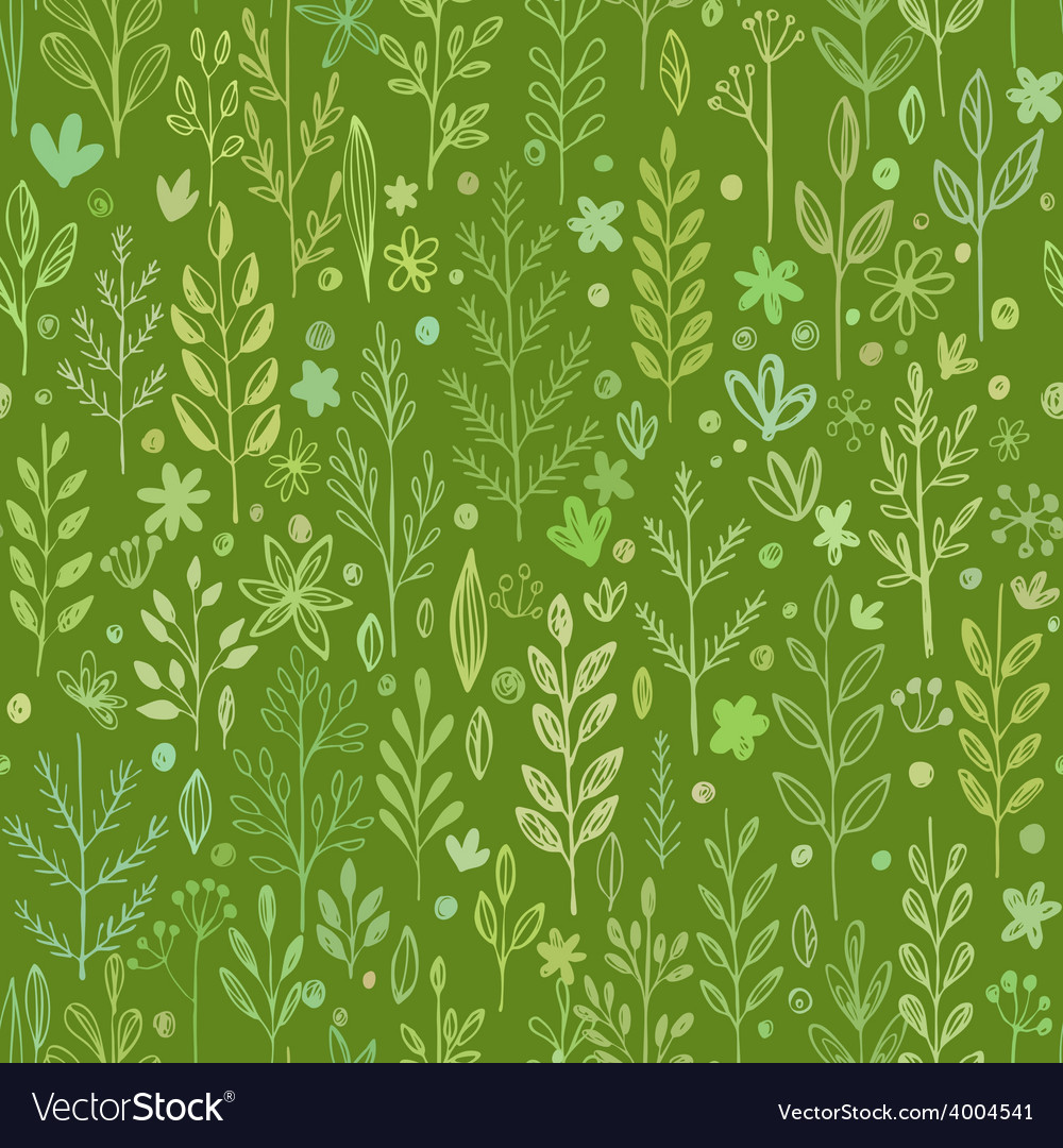 Seamless hands drawn spring pattern with grass and vector