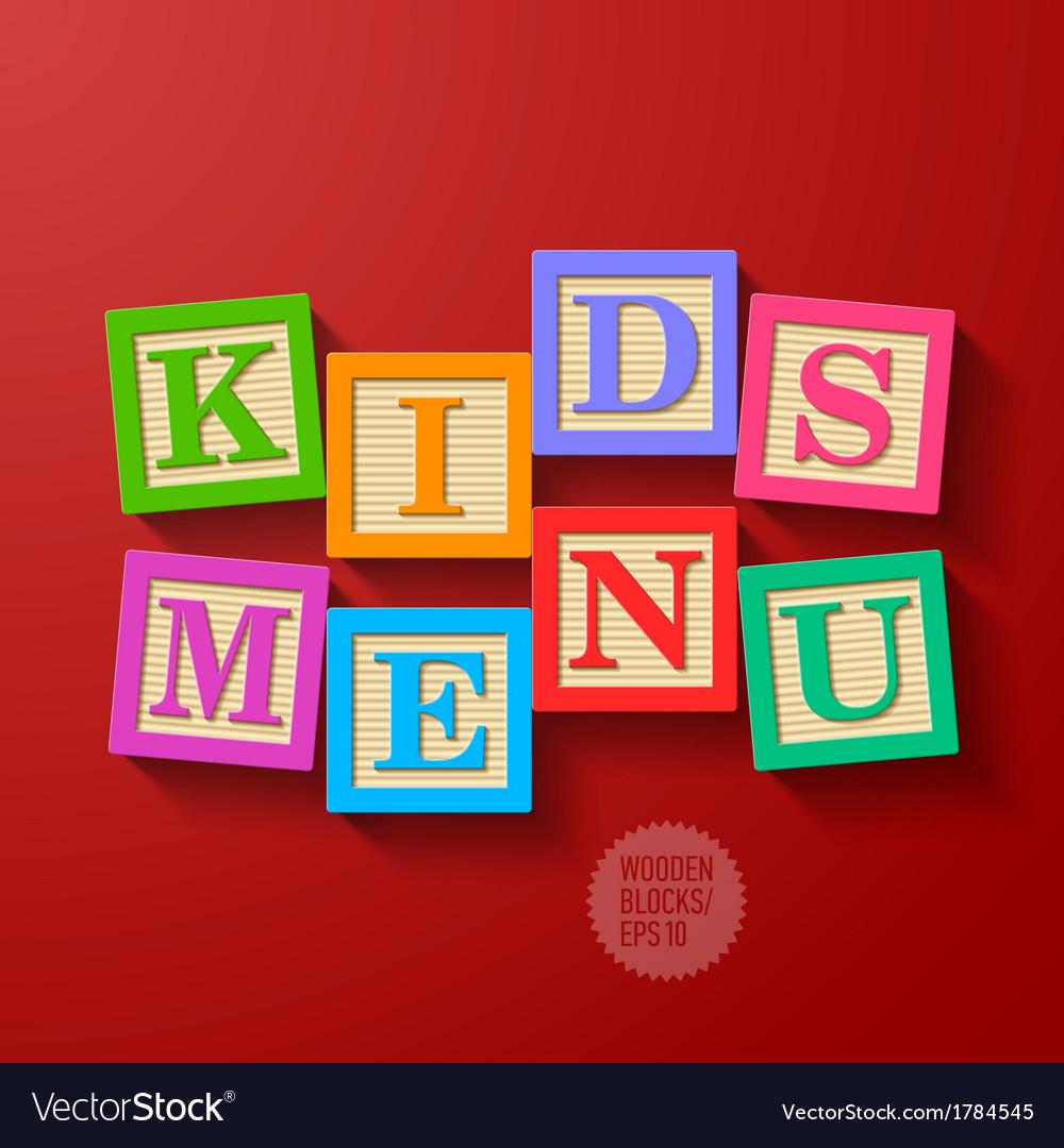 Kids menu cover vector