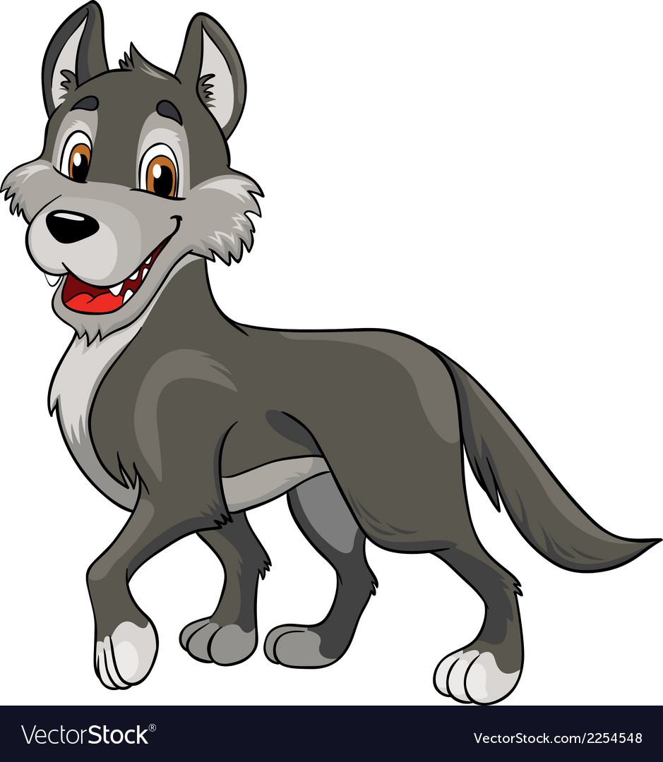 Cheerful wolf on a white background vector