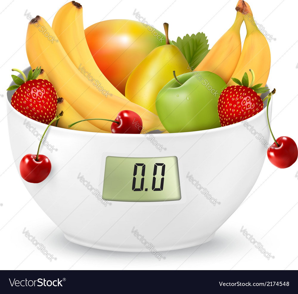 Fruit with in a digital weight scale diet concept vector