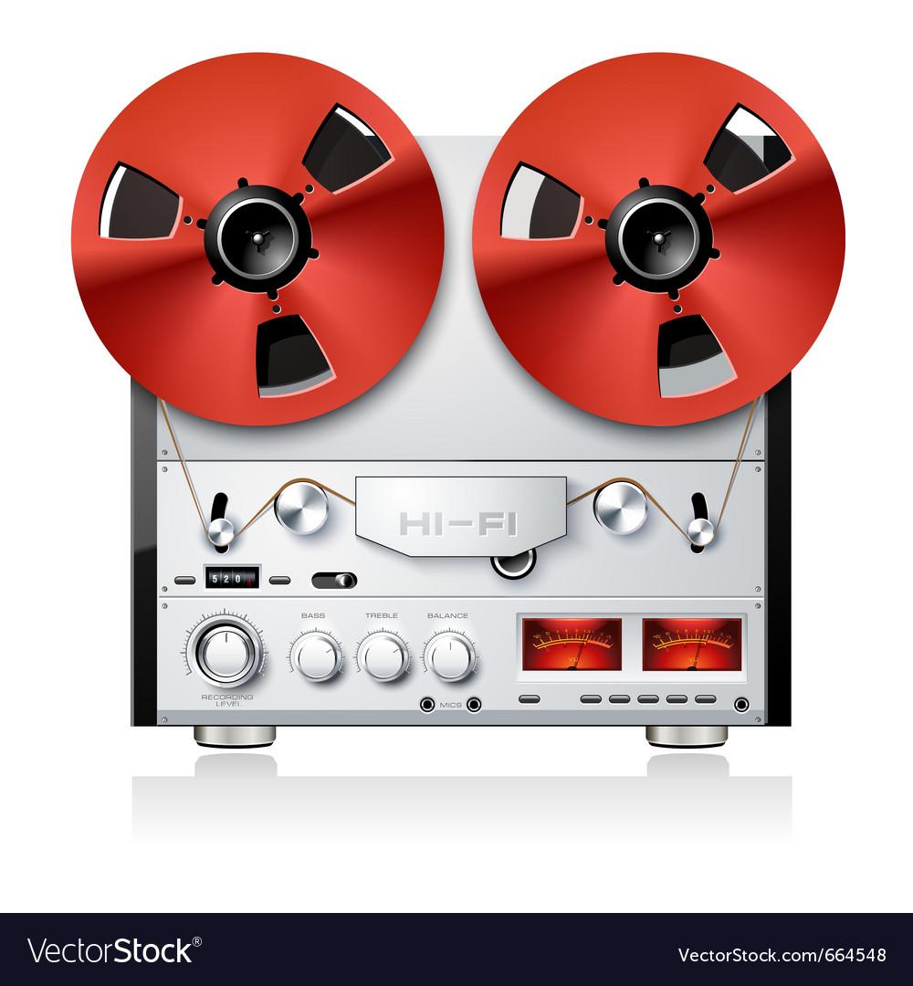 Vintage hi-fi analog stereo reel to reel tape deck vector