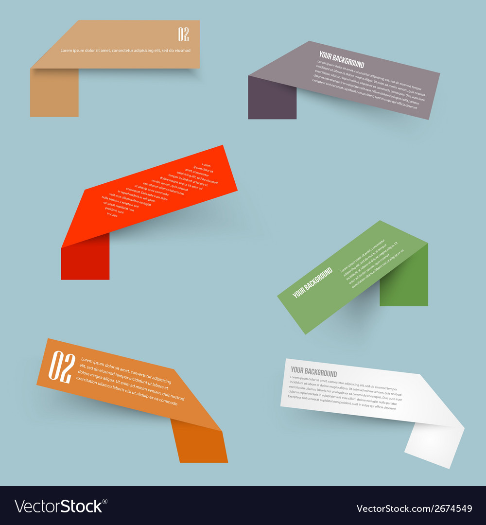 Set of blank rectangle labels with acute vector