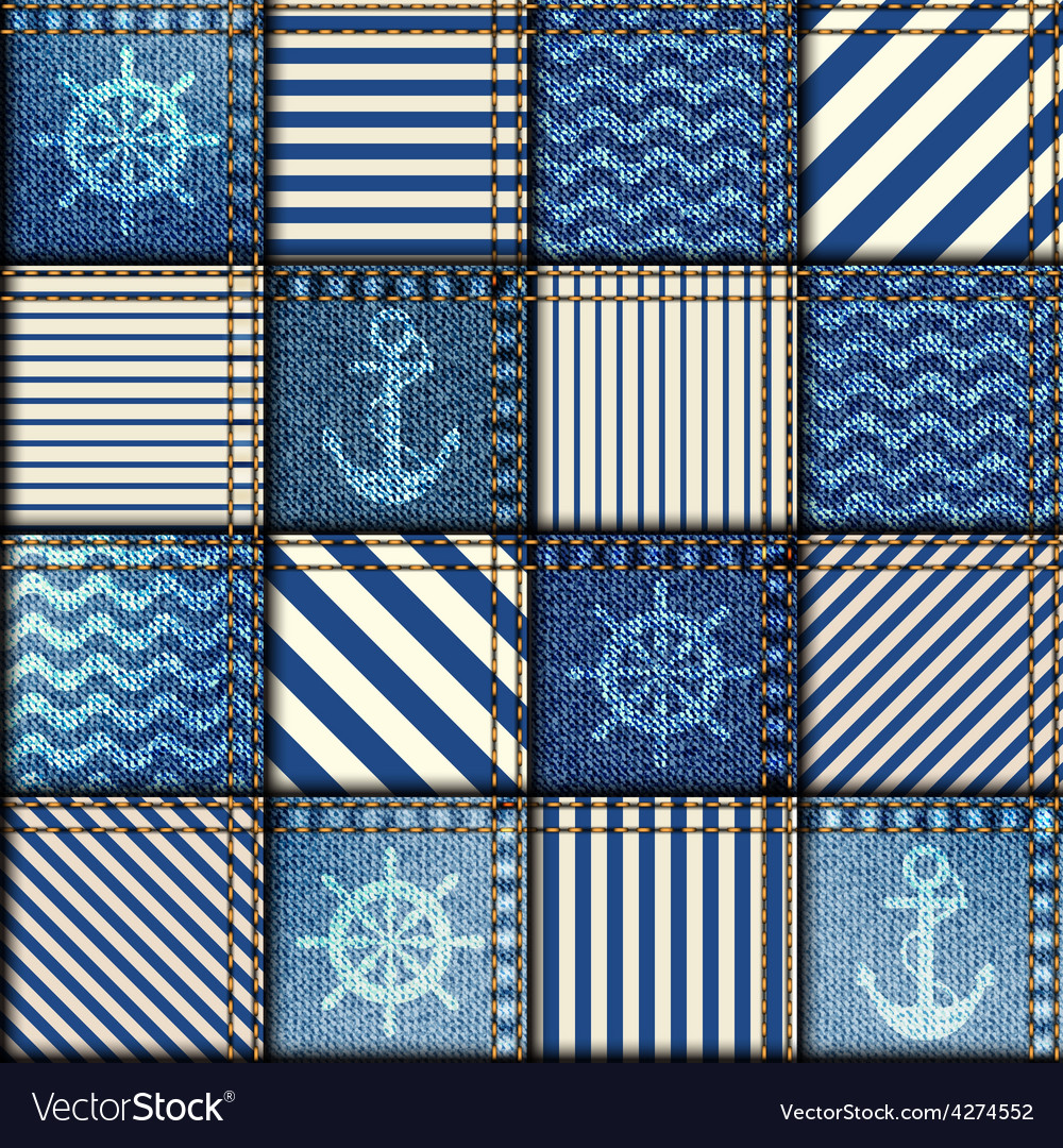 Patchwork of denim fabric vector
