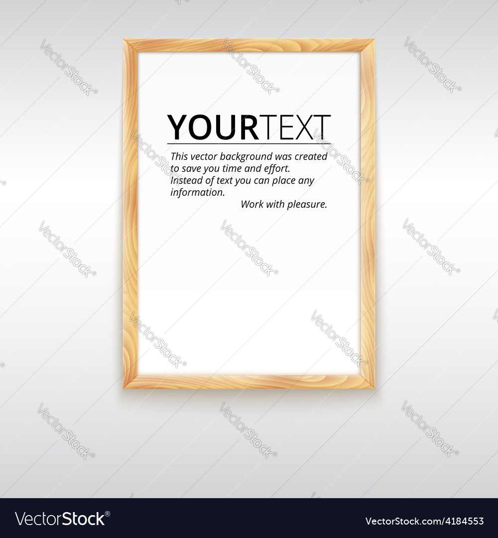 Picture wood frame for image or text vector