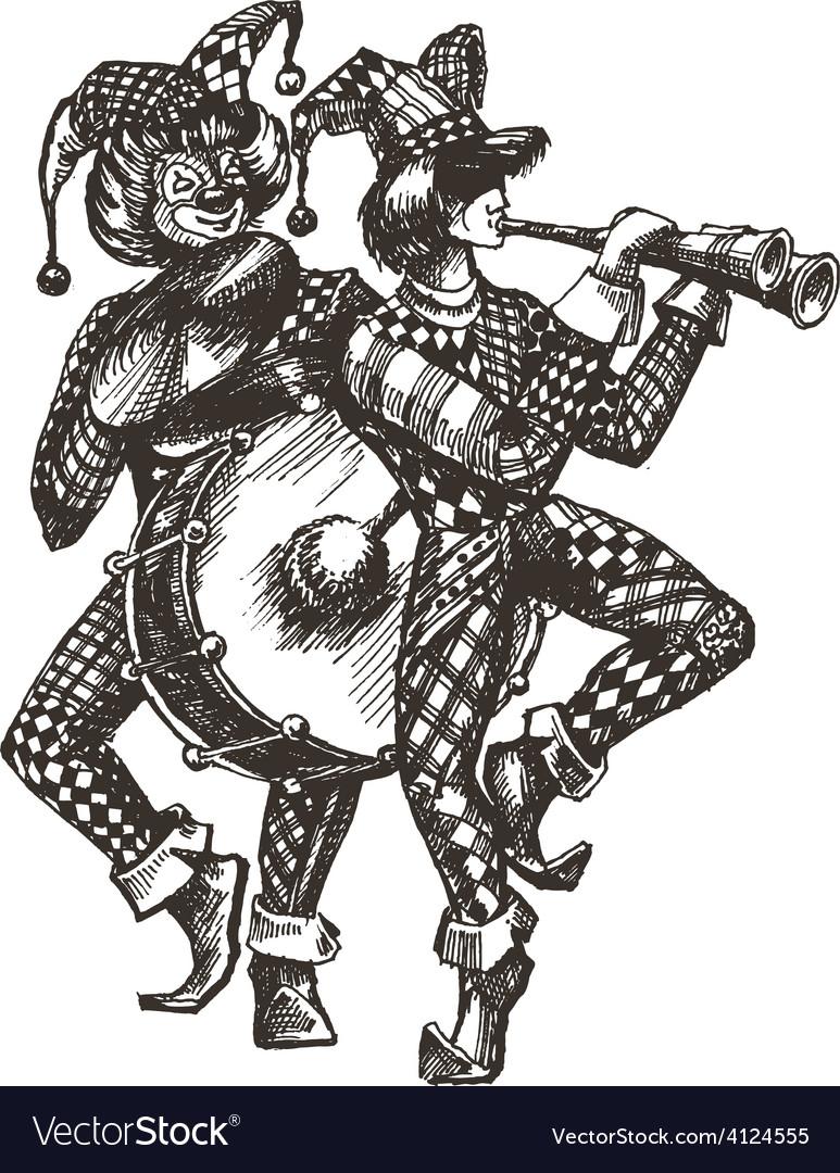 Circus logo design template clown or music vector
