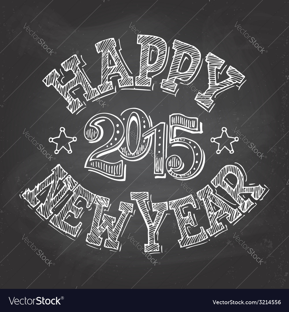 Happy new year hand-lettering vector