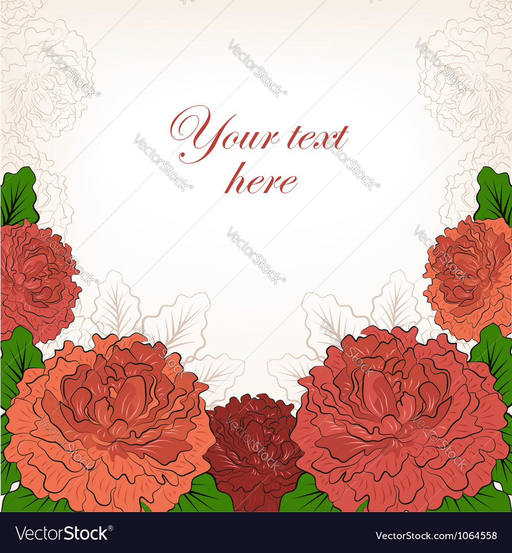 Abstract romantic background with peonies vector