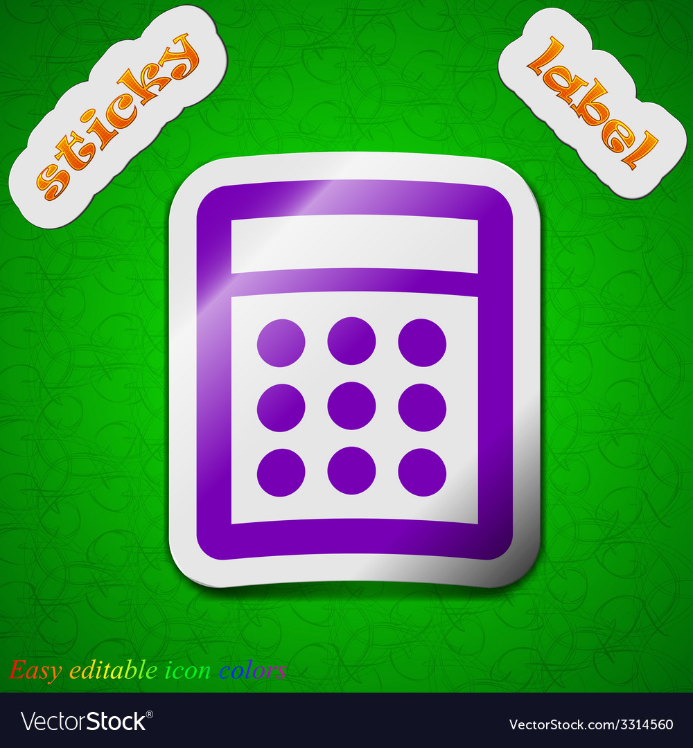 Calculator icon sign symbol chic colored sticky vector