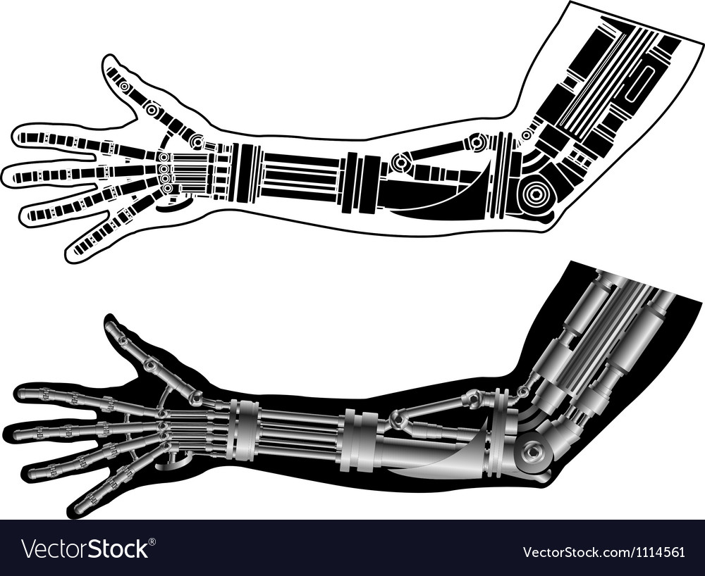 Cybernetic hand with stencil second variant vector