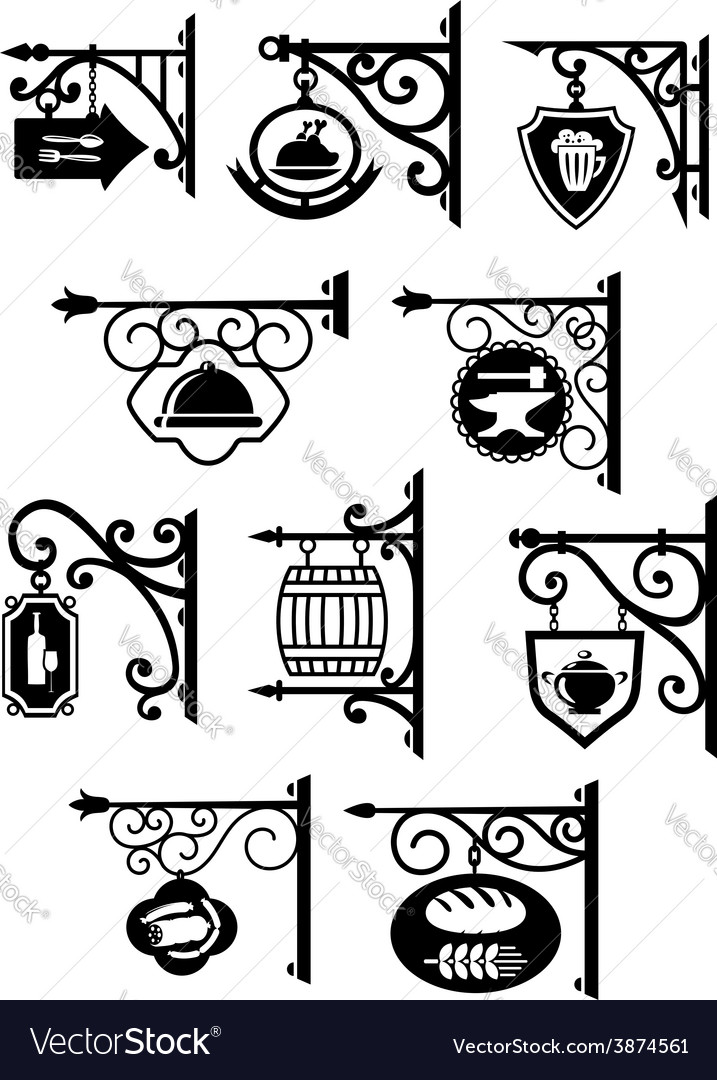 Hanging signboard with vintage forging vector