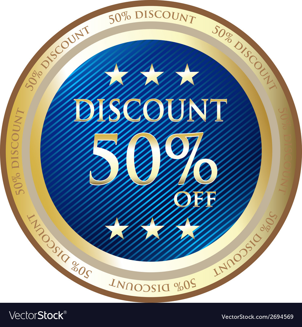 Fifty percent discount blue label vector
