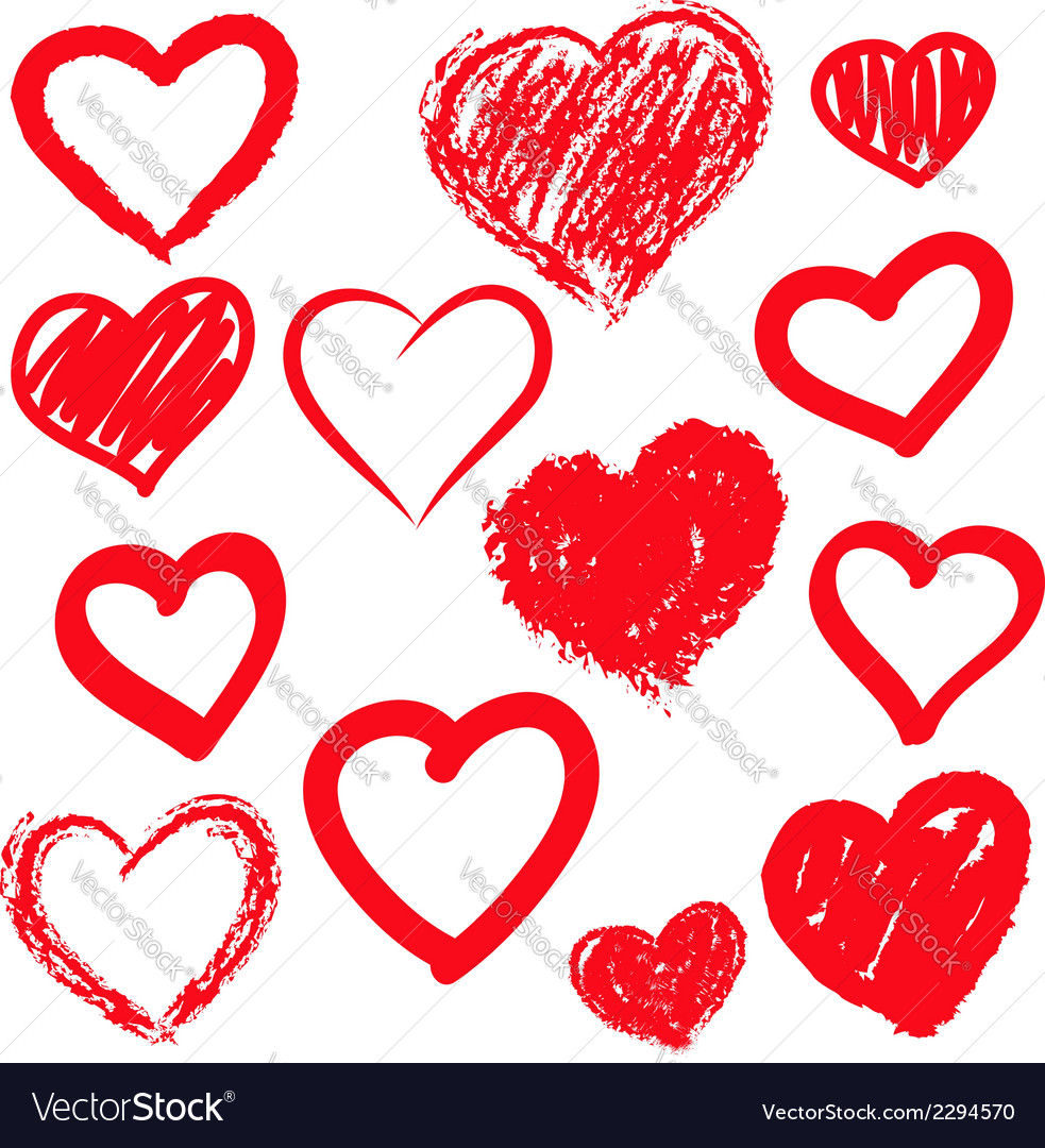Hearts set hand drawn vector