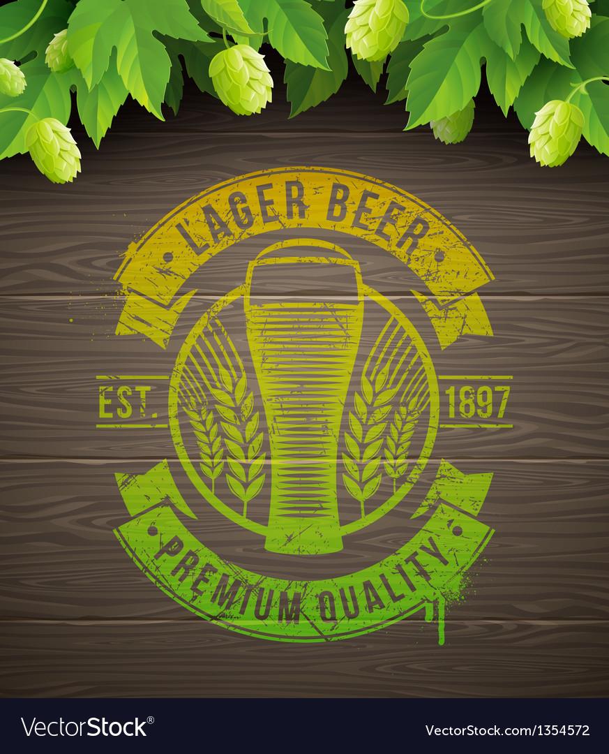 Beer emblem and ripe hops vector