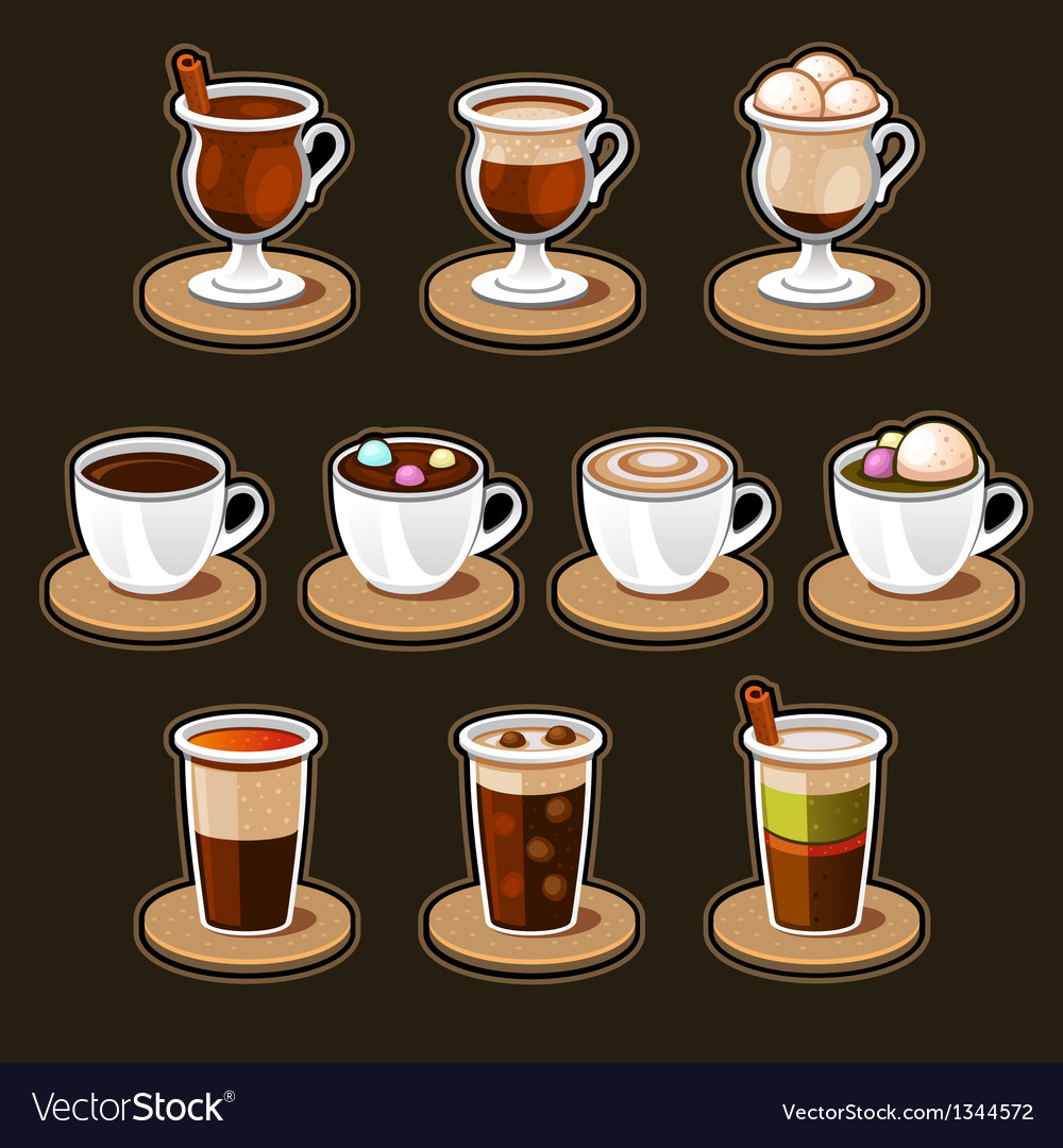 Coffee and tea cup set vector