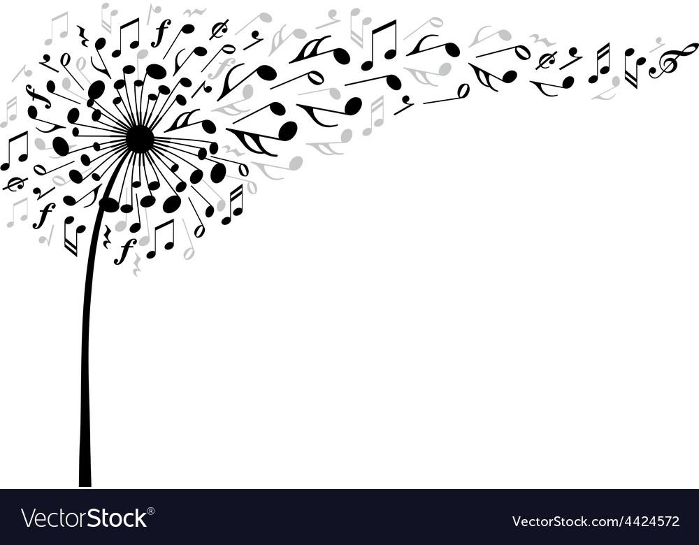 Music dandelion flower vector