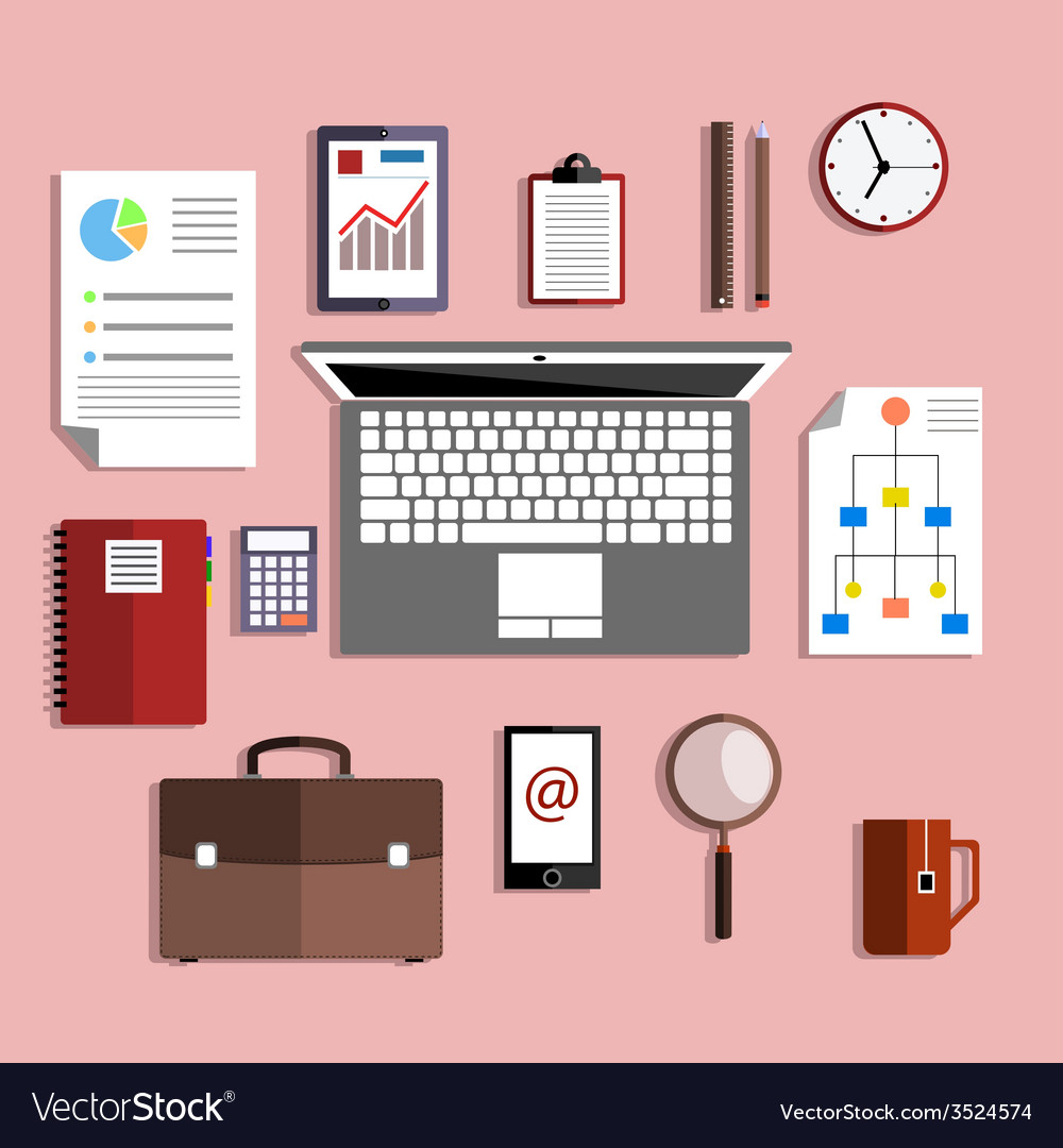 Set of working and educational equipment vector