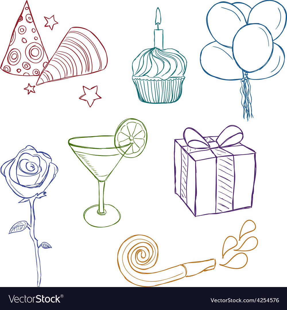 Hand drawn birthday icons vector