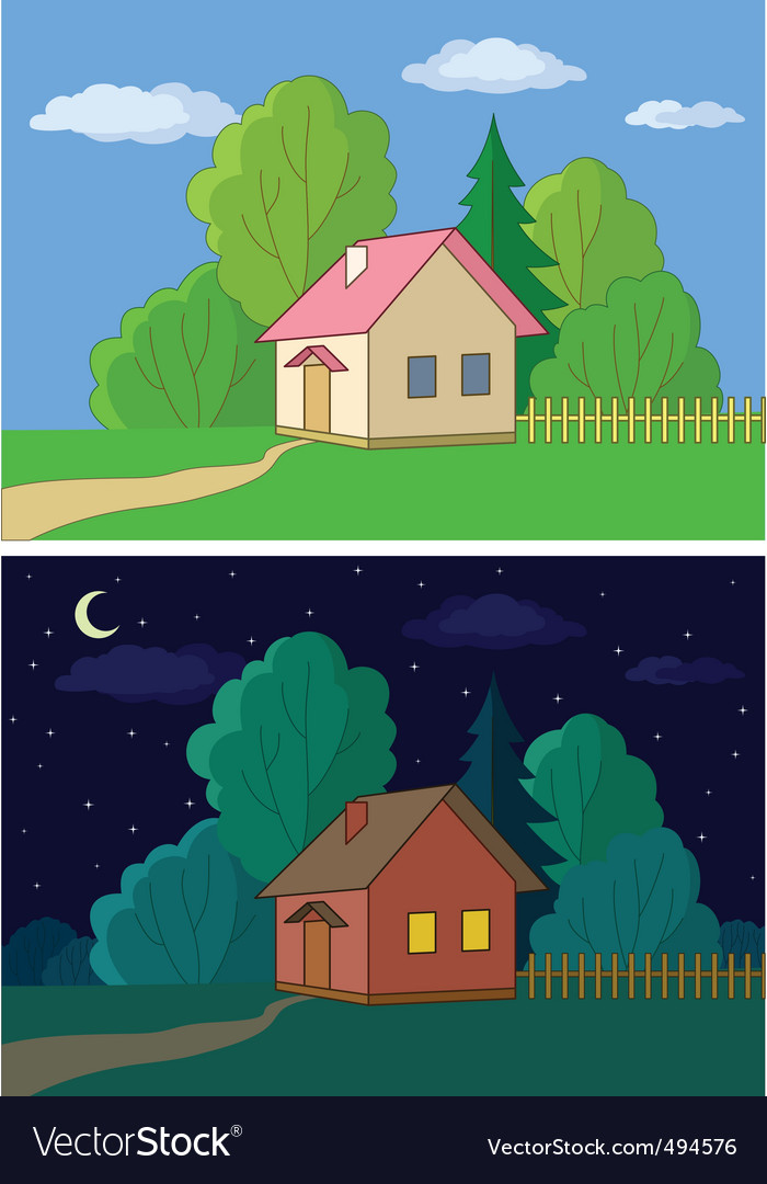 Houses on forest edge vector
