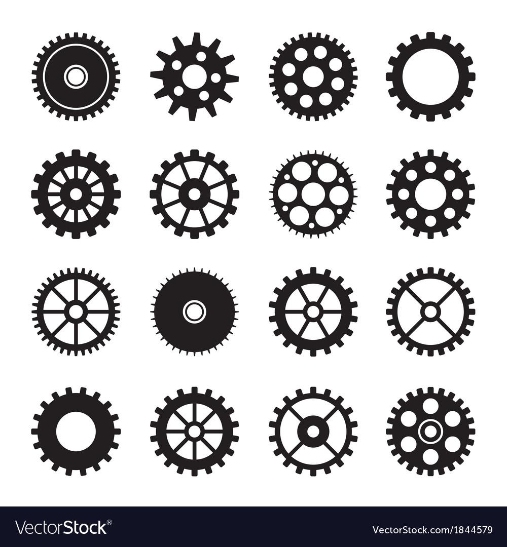 Gear wheel icons set 2 vector