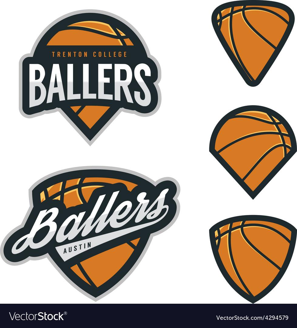 Set of basketball team emblem backgrounds vector