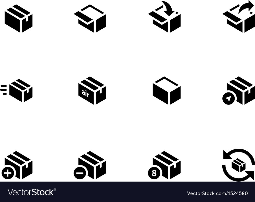 Box icons on white background vector