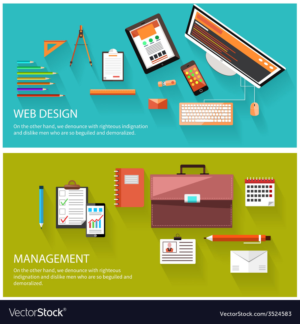 Management and web design concept vector