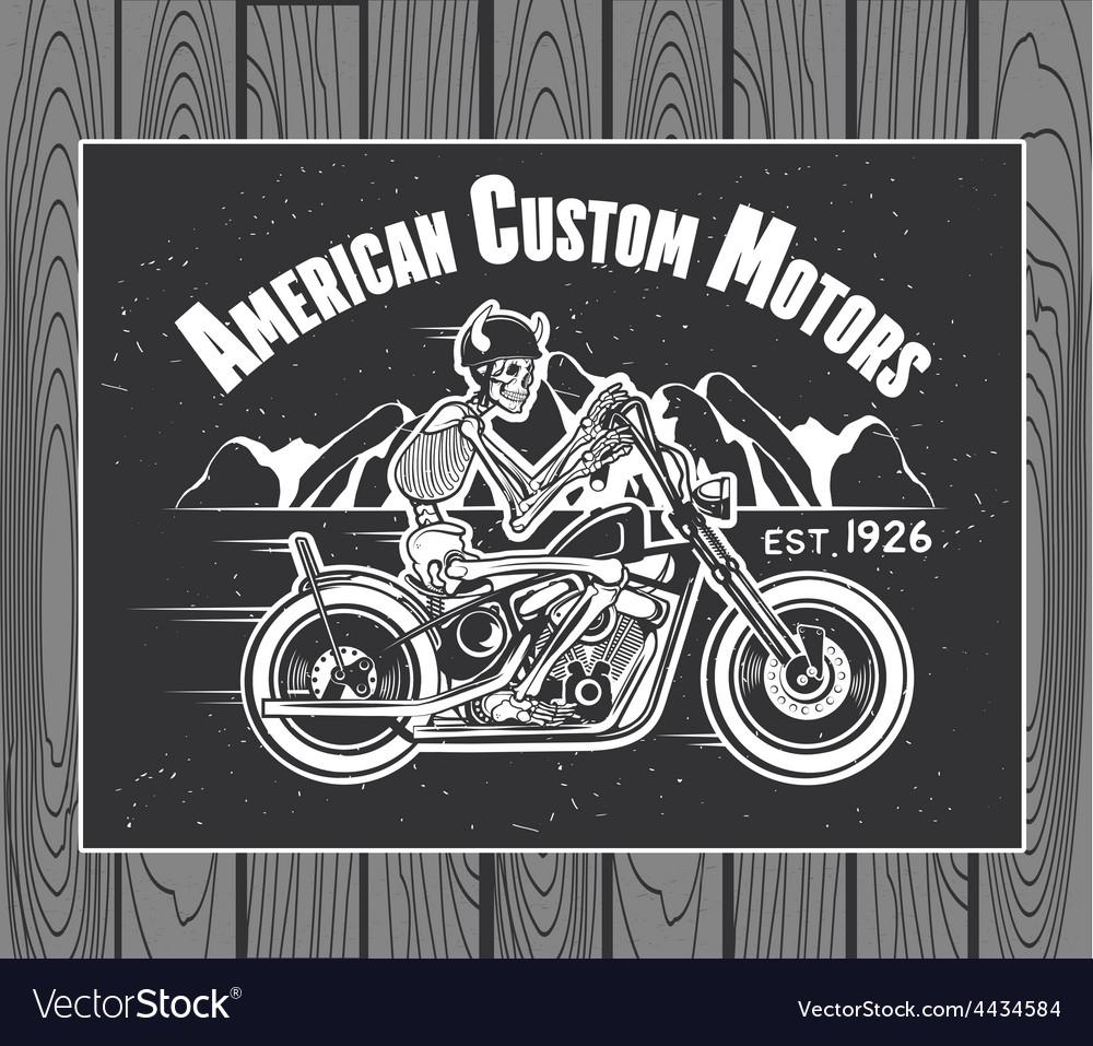 Skeleton rider motorcycle vector