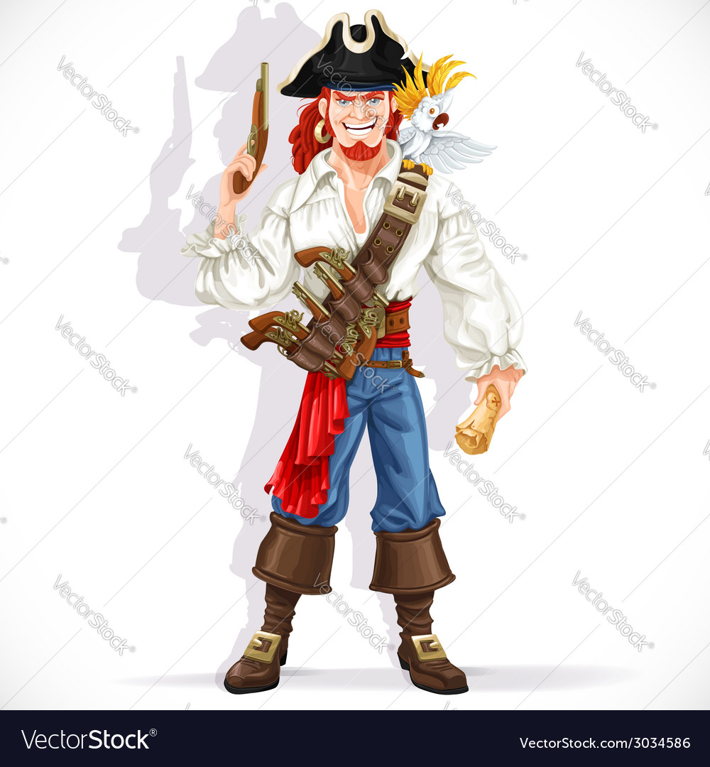 Brave pirate with pistol hold treasure map vector
