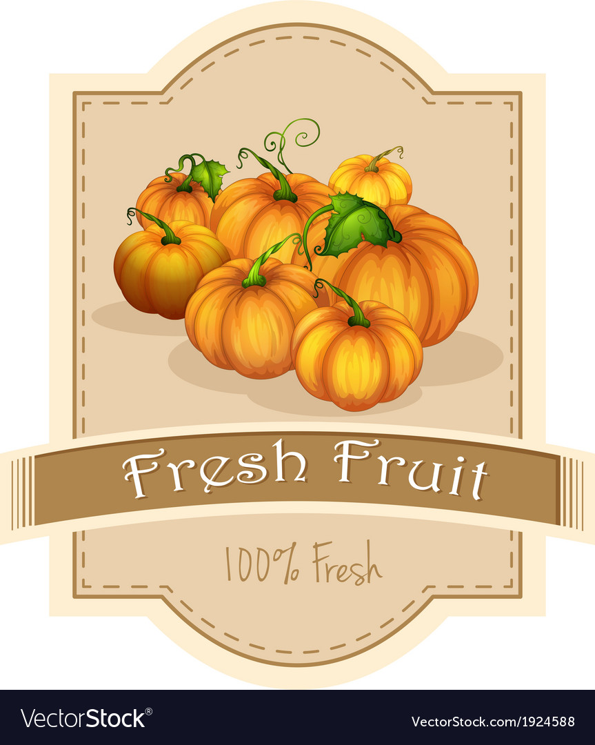 A fresh fruit label with a group of pumpkins vector