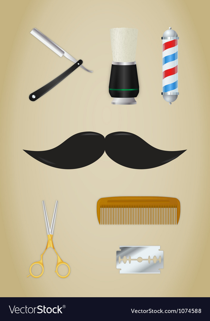 Barber shop icons set vector