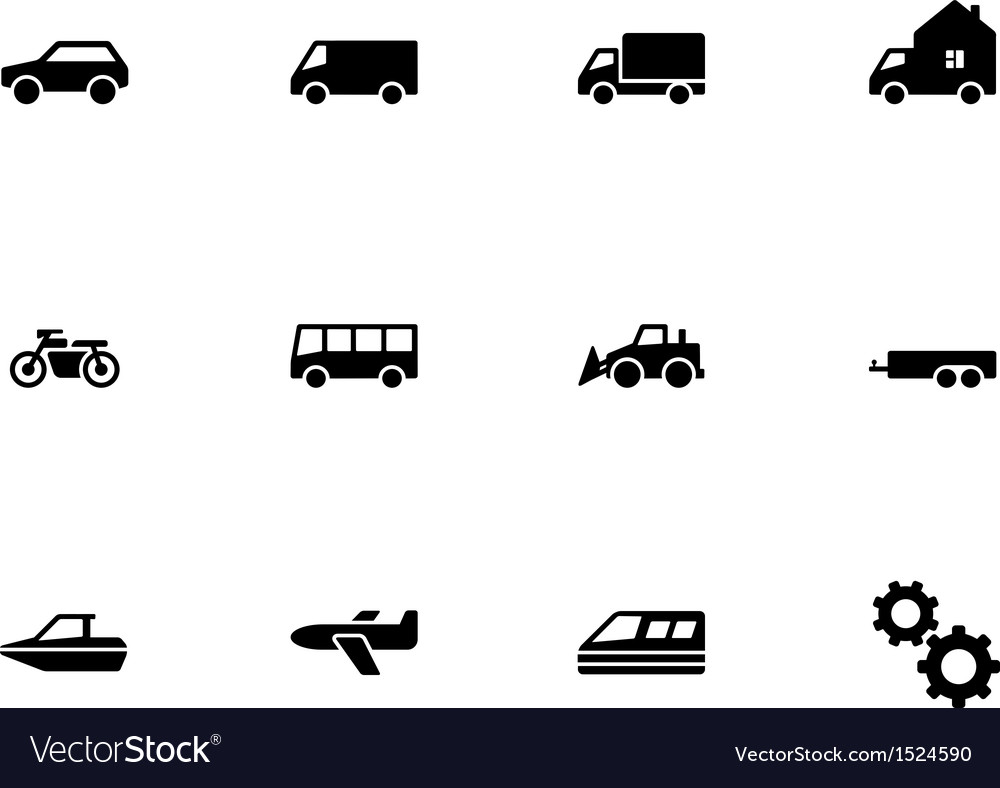 Cars and transport icons on white background vector
