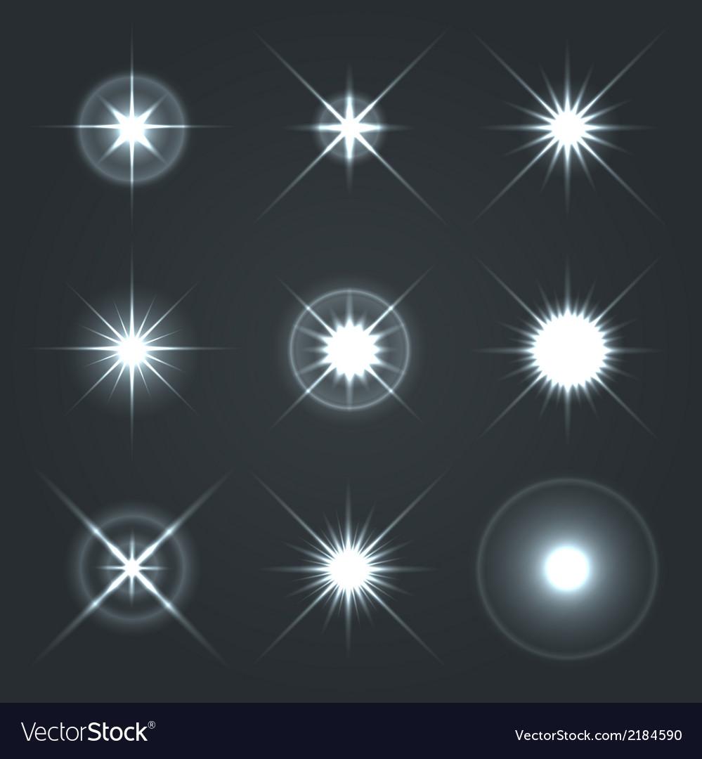 Light glow flare stars effect set 2 vector