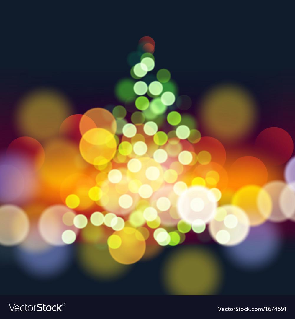 Christmas tree lights background vector