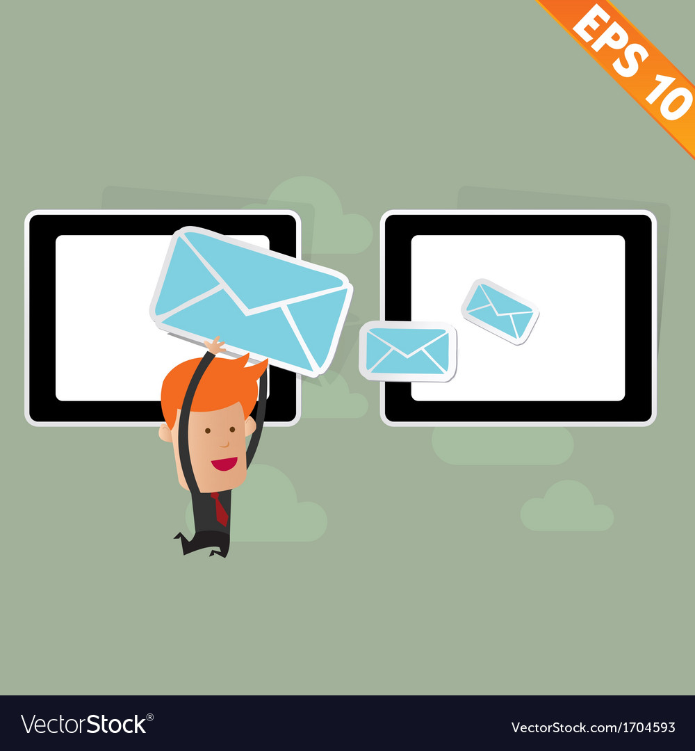 Cartoon business man carry email service - vector