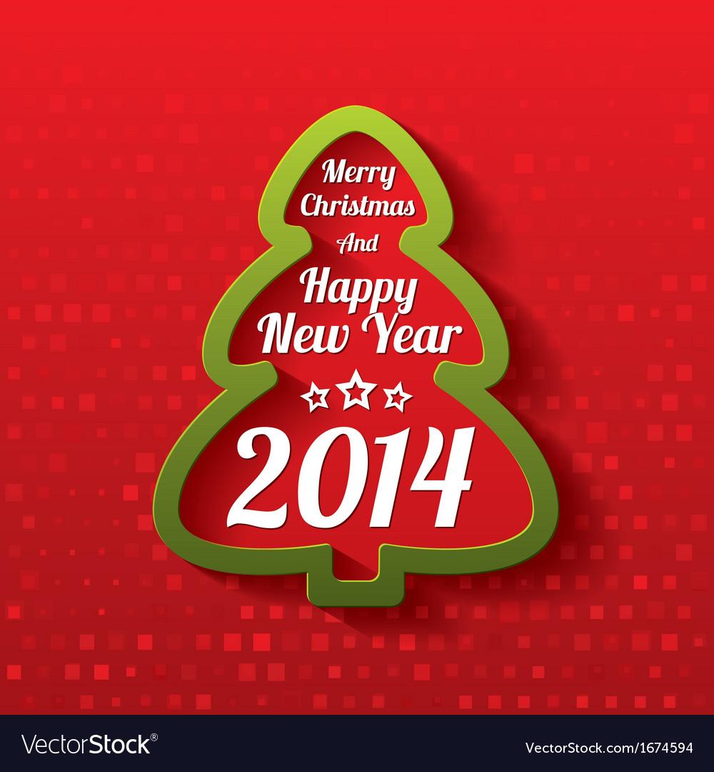 Merry christmas tree greeting card 2014 vector