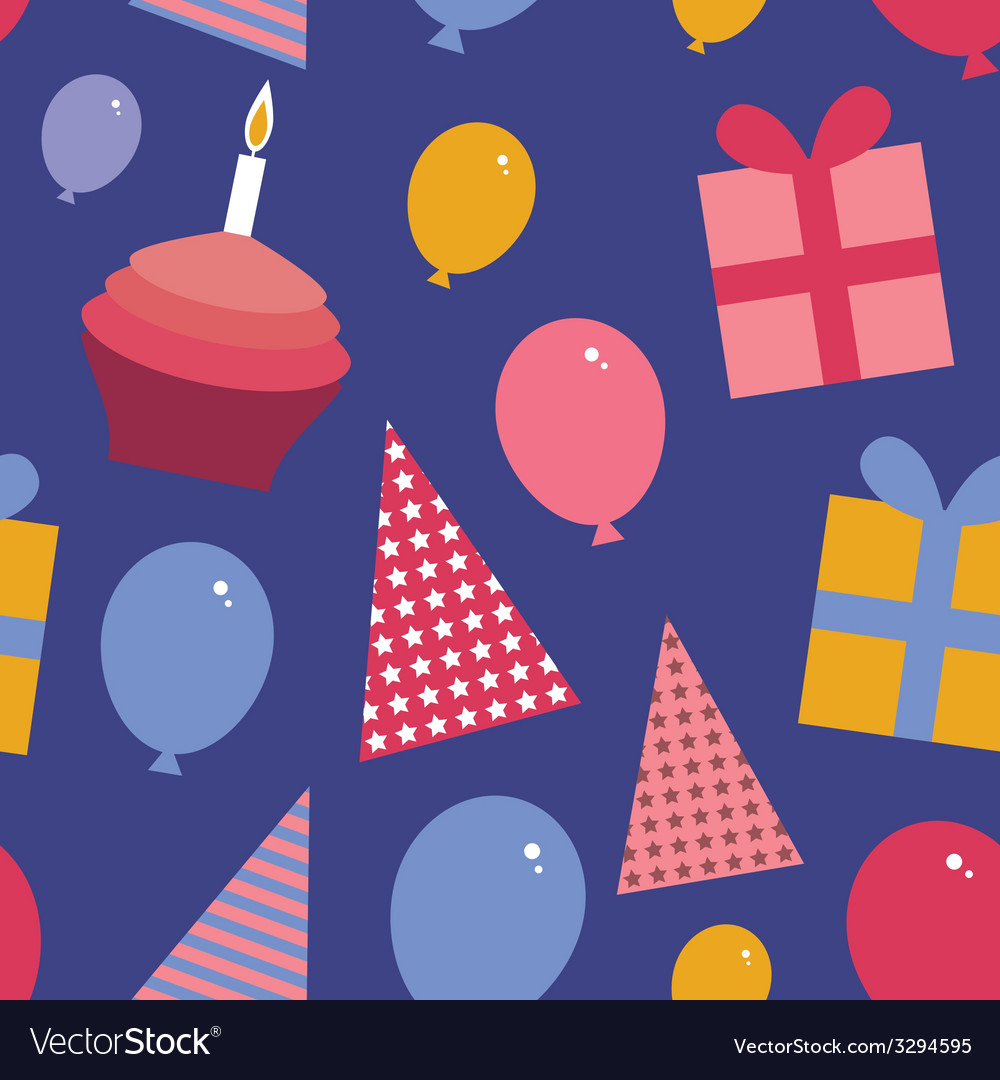 Happy birthday seamless pattern flat style set vector