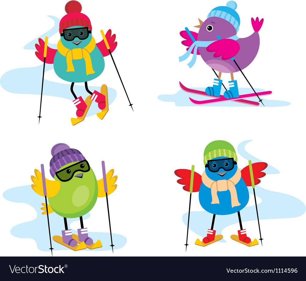 Skiing birds vector