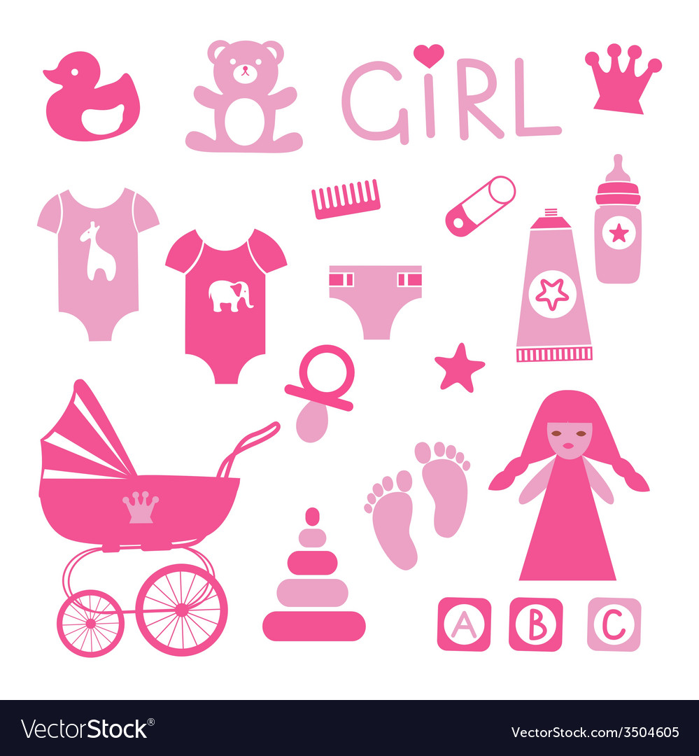Baby girl icons set vector