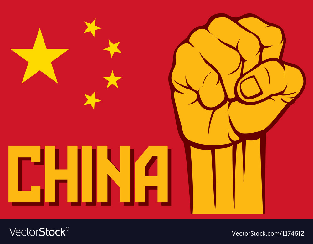 Flag of china with fist vector