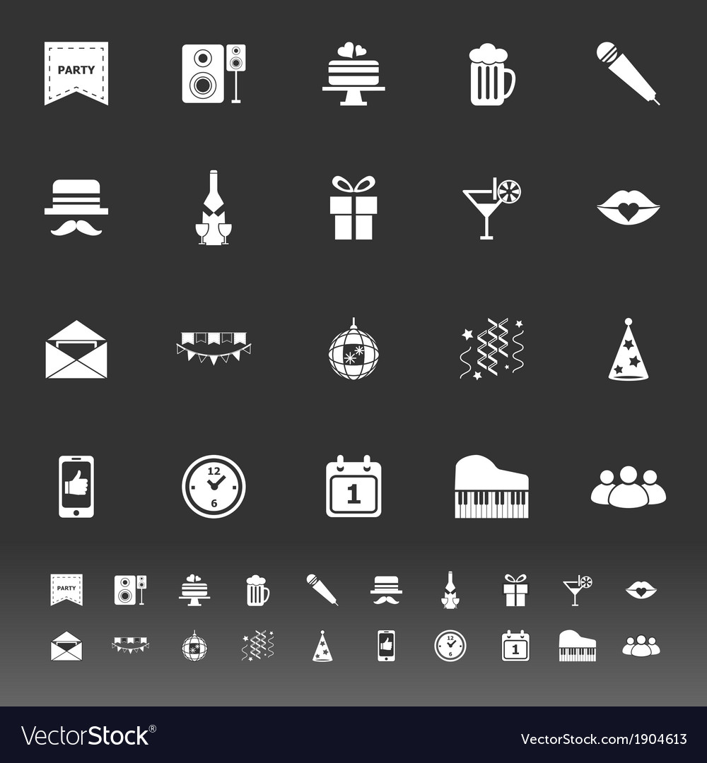 Celebration icons on gray background vector