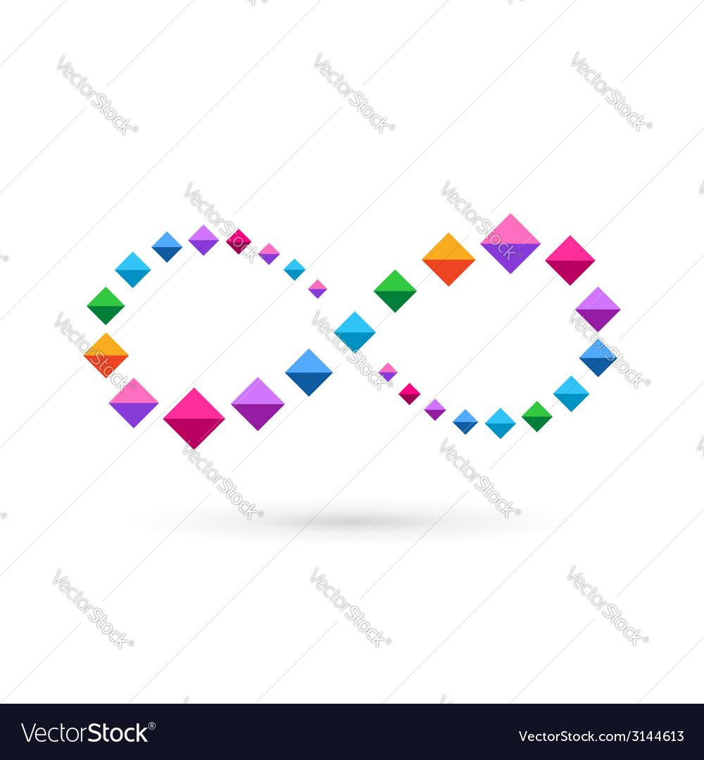 Infinity loop mosaic crystal logo icon design vector