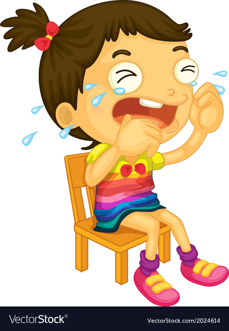 A young girl crying vector