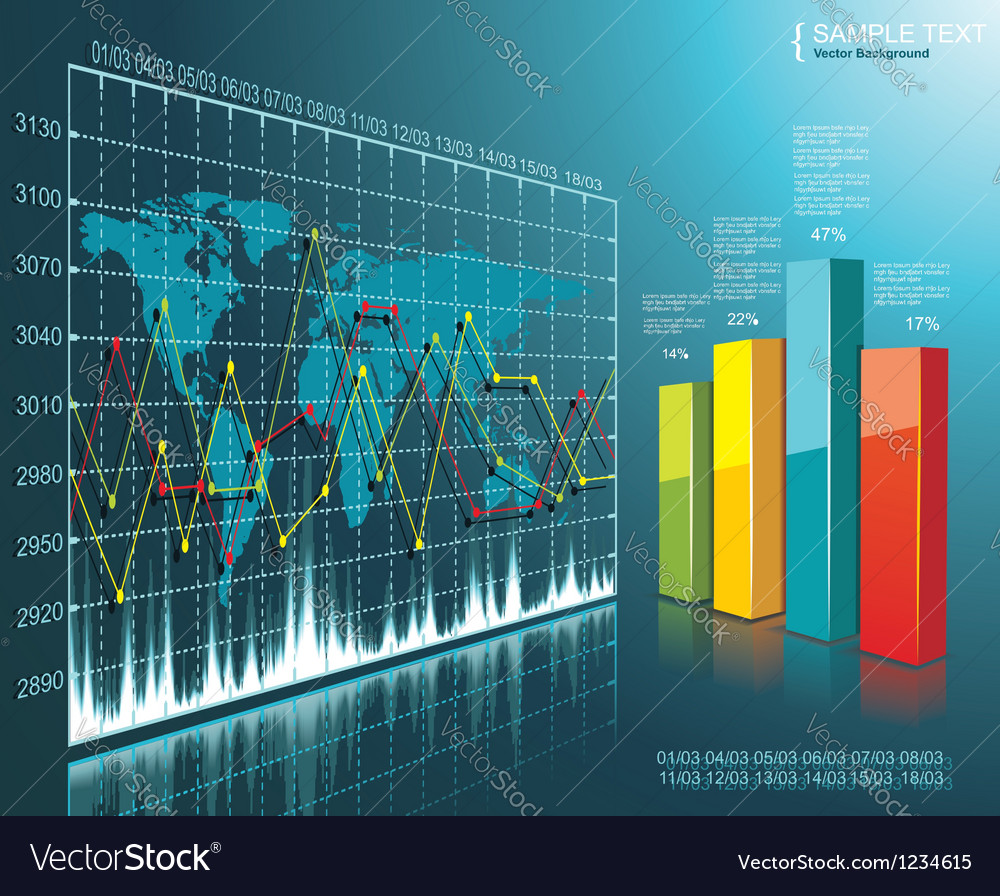 Color diagram on the digital technology background vector