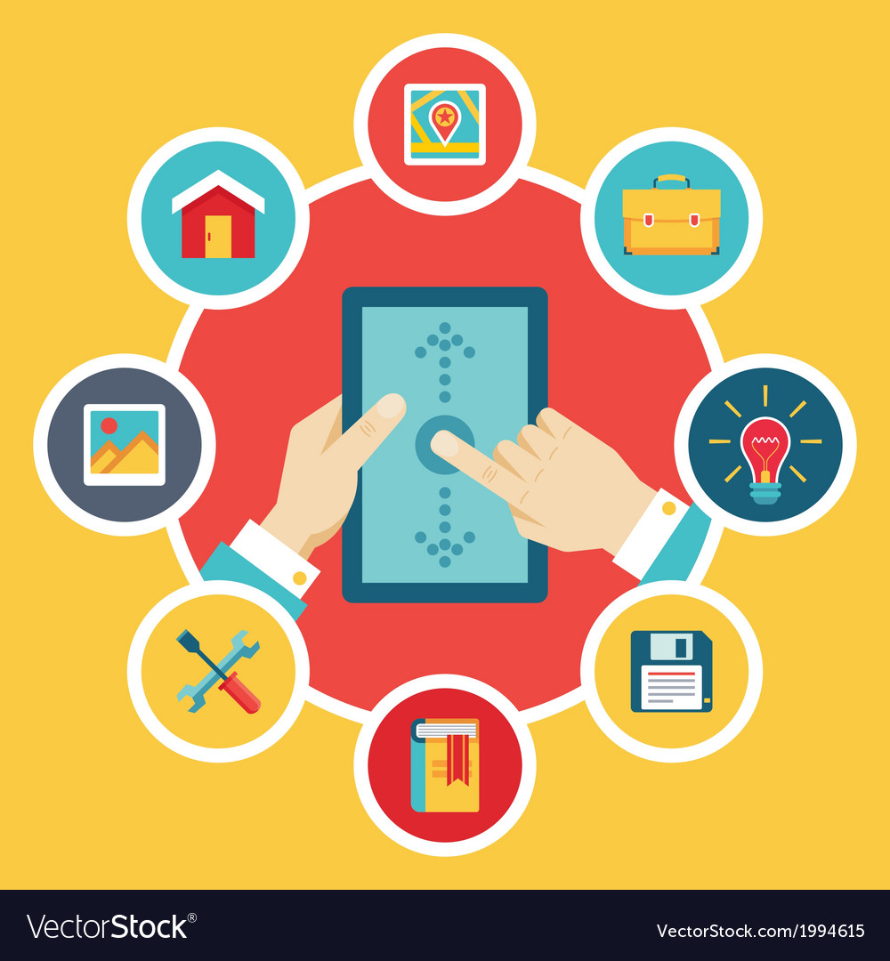 Tablet pc with hands and icons - flat style vector