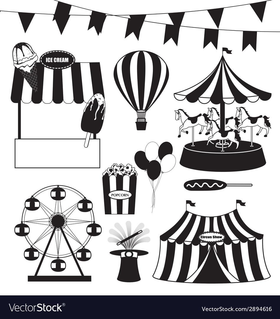 Fun fair and circus collection vector