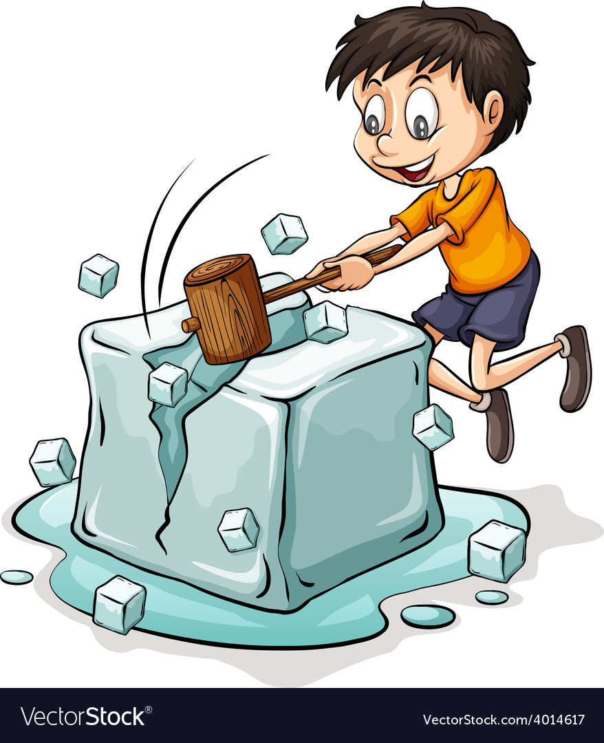 Boy breaking the icecube vector