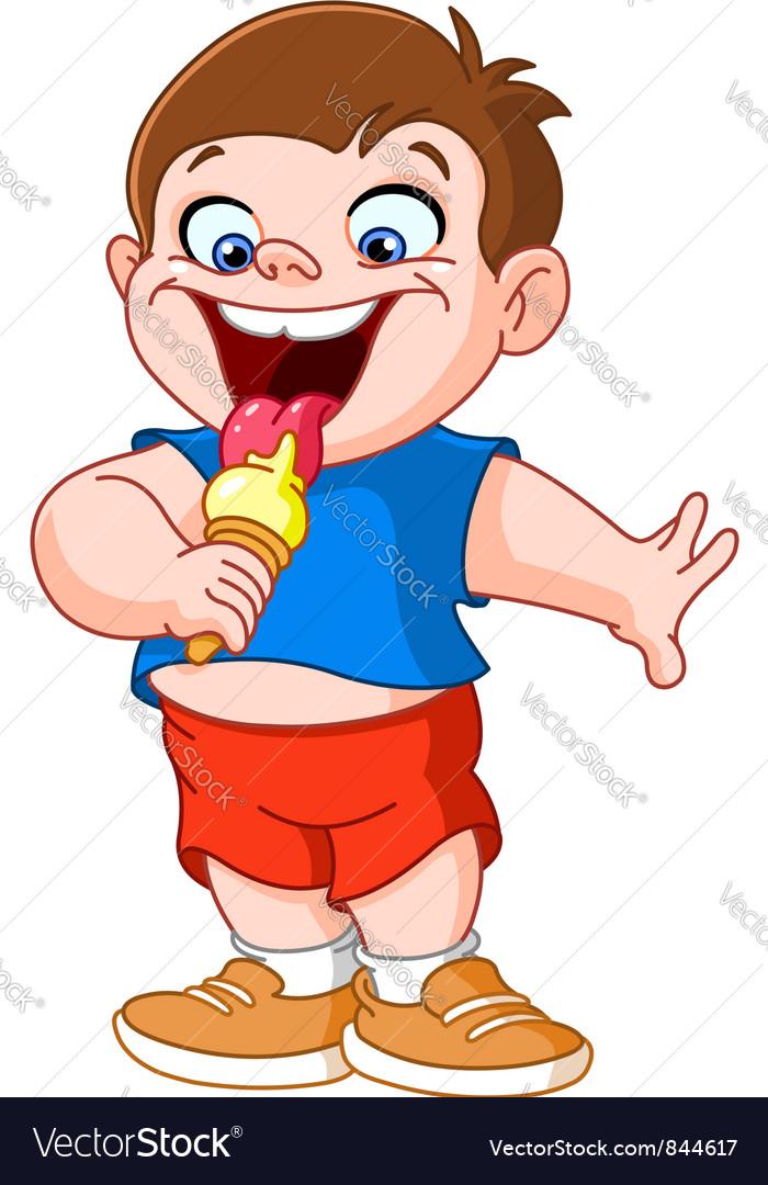 Kid eating icecream vector